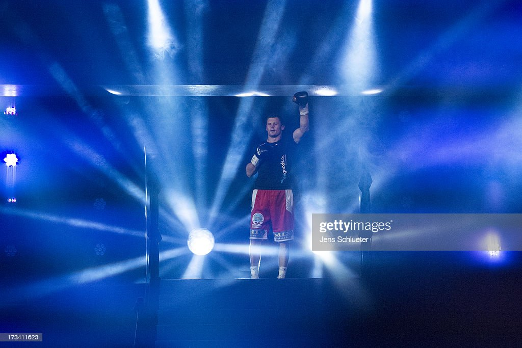 <a gi-track='captionPersonalityLinkClicked' href=/galleries/search?phrase=Robert+Stieglitz&family=editorial&specificpeople=2482040 ng-click='$event.stopPropagation()'>Robert Stieglitz</a> of Germany is seen before his WBO Super Middleweight World Championship bout against Yuzo Kiyota of Japan at EnergieVerbund Arena on July 13, 2013 in Dresden, Germany.