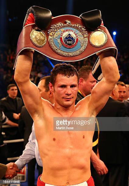 Robert Stieglitz of Germany poses with the belt after winning the WBO World Championship Super Middleweight title fight at Getec Arena on March 23...