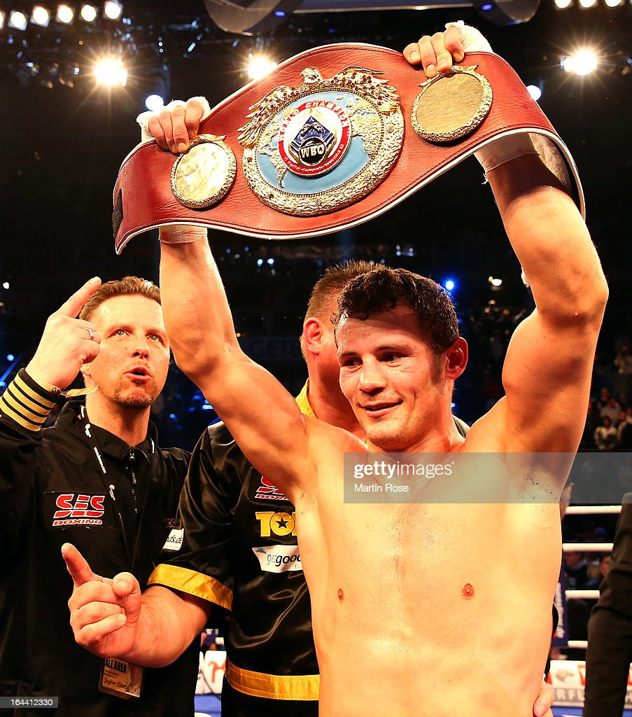 Robert Stieglitz of Germany poses with the belt after winning the WBO World Championship Super Middleweight title fight at Getec Arena on March 23, 2013 in Magdeburg, Germany.