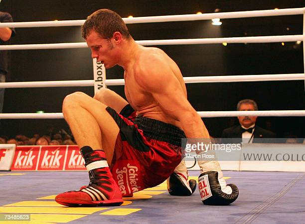 Robert Stieglitz of Germany sits on the ground during boxing night at the Stadthalle on March 3 2007 in Rostock Germany