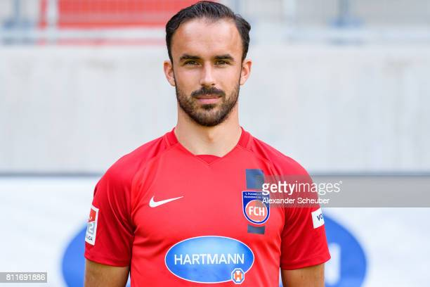 Robert Strauss of 1 FC Heidenheim poses during the team presentation at Voith Arena on July 8 2017 in Heidenheim Germany
