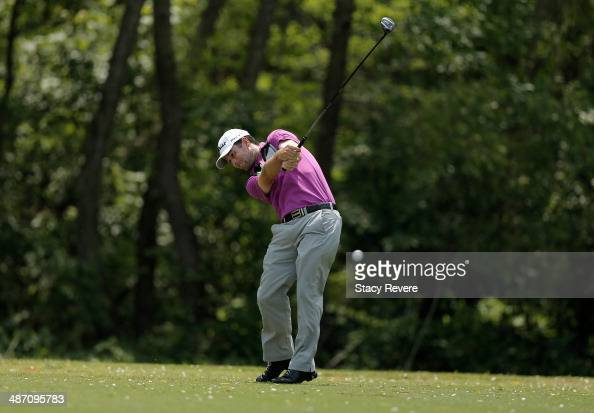 Robert Streb takes his shot on the 5th during the Final Round of the Zurich Classic of New Orleans at TPC Louisiana on April 27 2014 in Avondale...