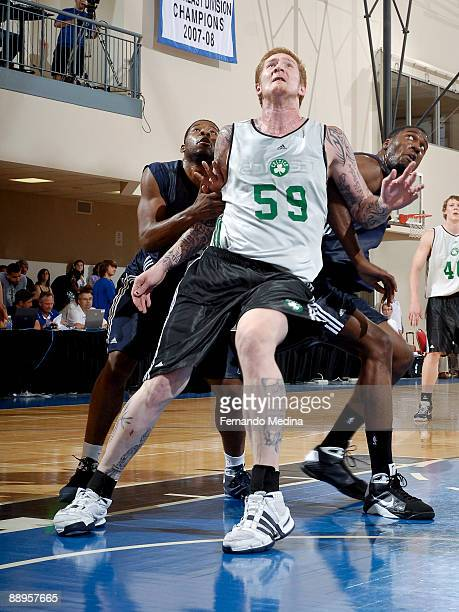 Robert Swift of the Boston Celtics boxes out against the Indiana Pacers during the 2009 Orlando Pro Summer League on July 9 2009 at the RDV...