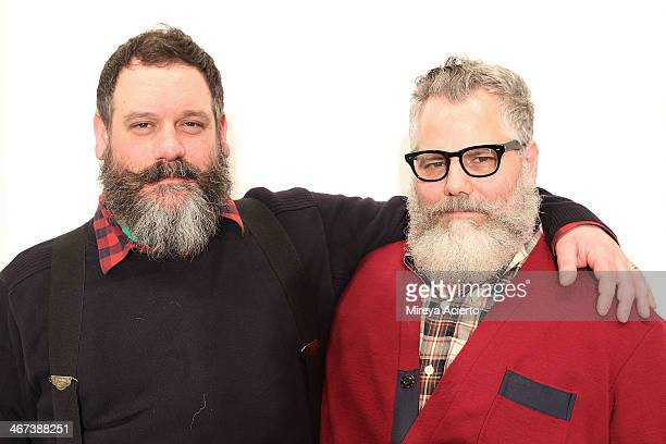 Robert Tagliapietra and Jeffrey Costello backstage at the Costello Tagliapietra fashion show during MADE Fashion Week Fall 2014 at Milk Studios on...