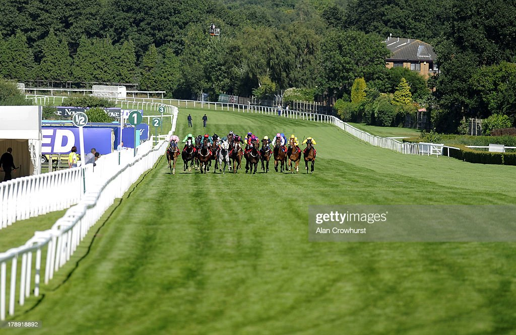 Robert Tart riding Vasily (2L) win The Betfred TV & Levy Board Handicap Stakes at Sandown racecourse on August 31, 2013 in Esher, England.