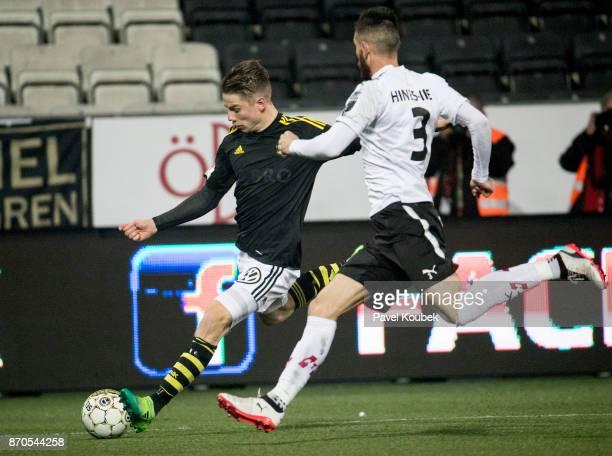 Robert Taylor of AIK Brendan HinesIke of Orebro SK during the Allsvenskan match between Orebro SK AIK at Behrn Arena on November 5 2017 in Orebro...