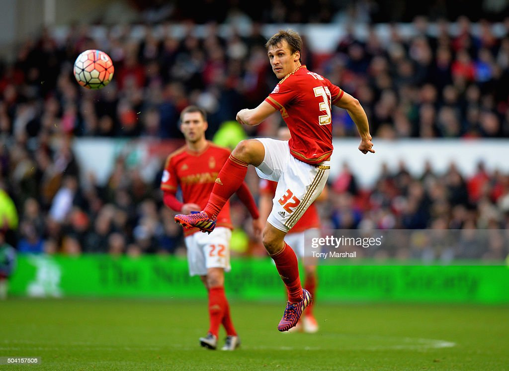 Robert Tesche of Nottingham Forest during The Emirates FA Cup Third Round match between Nottingham Forest and Queens Park Rangers at City Ground on January 9, 2016 in Nottingham, England.