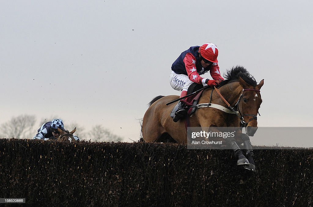 <a gi-track='captionPersonalityLinkClicked' href=/galleries/search?phrase=Robert+Thornton+-+Jockey&family=editorial&specificpeople=13849666 ng-click='$event.stopPropagation()'>Robert Thornton</a> riding Godsmejudge clear the last to win The BetVictor Non Runner Free Bet Cheltenham 2013 Beginners' Steeple Chase during the last meeting to be held after 114 years of racing at Folkestone racecourse on December 18, 2012 in Folkestone, England.