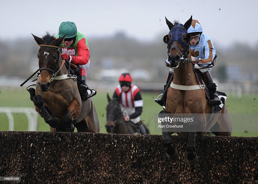 <a gi-track='captionPersonalityLinkClicked' href=/galleries/search?phrase=Robert+Thornton+-+Jockey&family=editorial&specificpeople=13849666 ng-click='$event.stopPropagation()'>Robert Thornton</a> riding Salden Licht (L) on their way to winning The ATR NOvices' Steeple Chase at Plumpton racecourse on January 06, 2013 in Plumpton, England.
