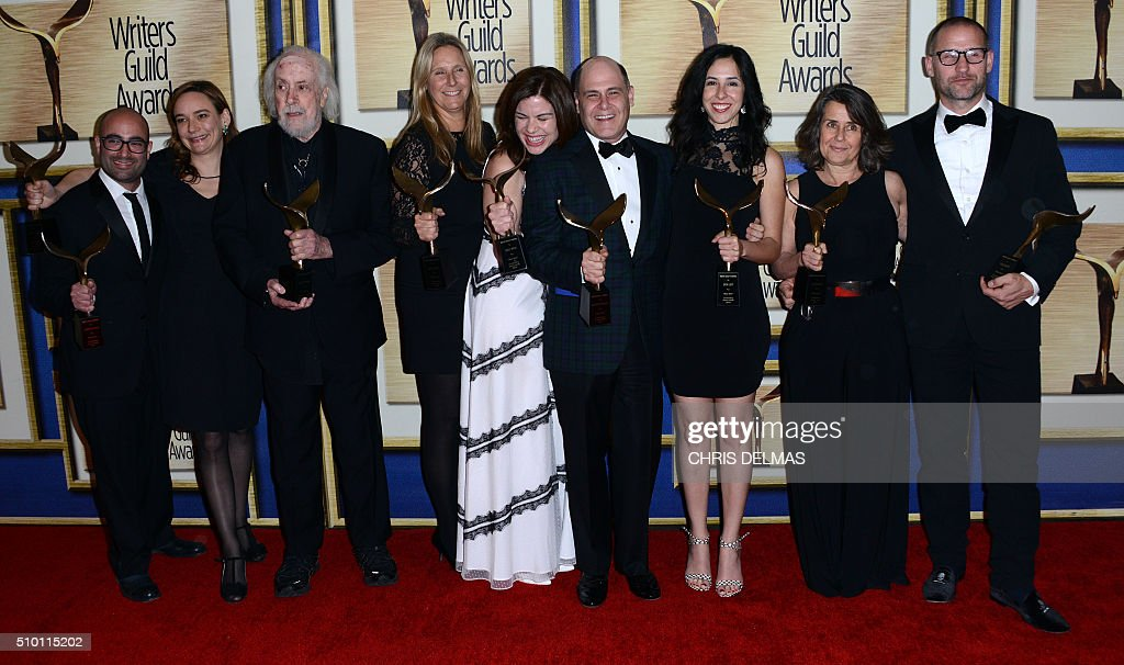 Robert Towne, and Mad Men writers poses in the press room at the Writers Guild Awards, in Century City, California, February 13, 2016. / AFP / CHRIS DELMAS