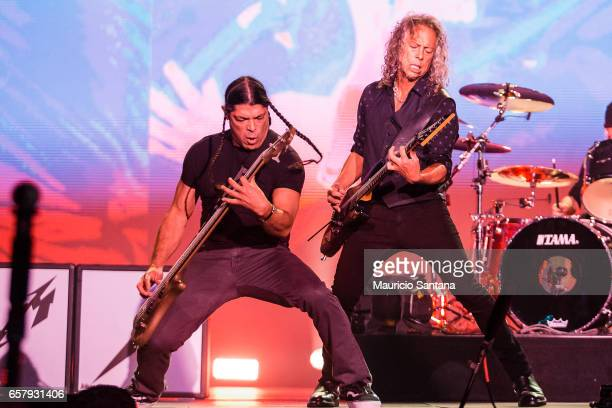 Robert Trujillo and Kirk Hammett members of the band Metallica performs live on stage at Autodromo de Interlagos on March 25 2017 in Sao Paulo Brazil