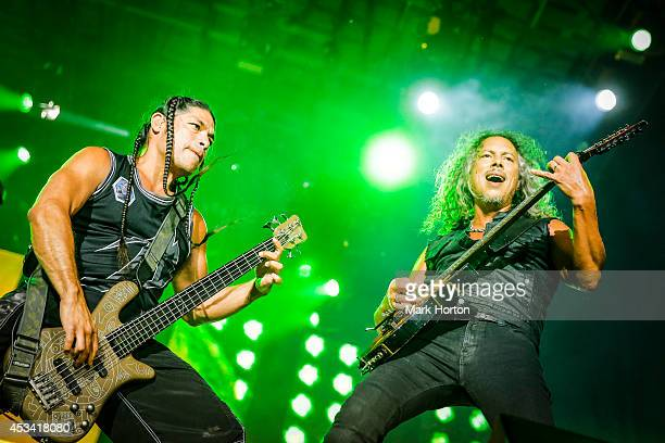 Robert Trujillo and Kirk Hammett perform with Metallica on Day 1 of the Heavy Montreal Festival on August 9 2014 in Montreal Canada