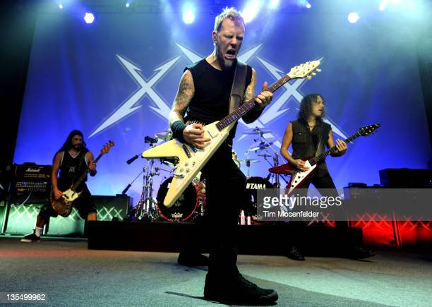 Robert Trujillo James Hetfield and Kirk Hammett of Metallica perform at Day Four of the bands' 30th Anniversary shows at The Fillmore on December 10...