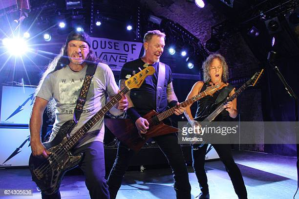 Robert Trujillo James Hetfield and Kirk Hammett of Metallica perform at House of Vans on November 18 2016 in London United Kingdom