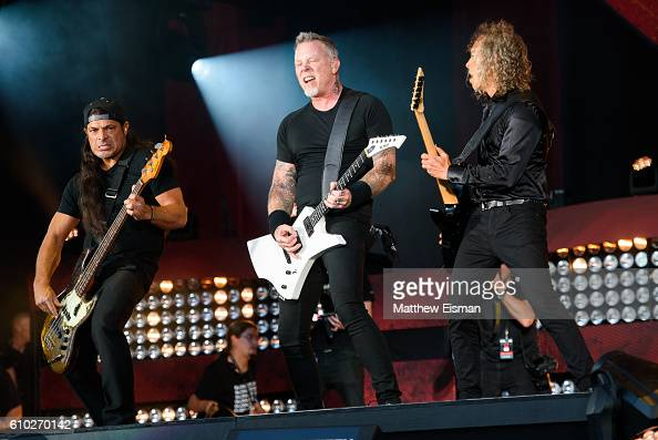 Robert Trujillo James Hetfield and Kirk Hammett of the band Metallica perform live on stage during Global Citizen Festival 2016 at Central Park on...