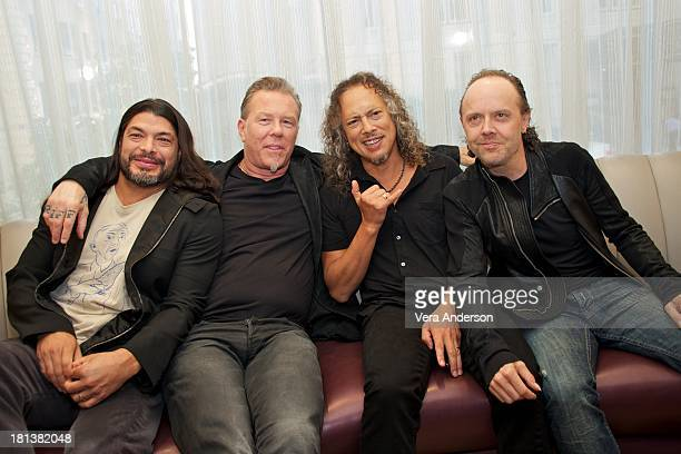 Robert Trujillo James Hetfield Kirk Hammett and Lars Ulrich at the 'Metallica Through The Never' Press Conference at the Fairmont Hotel on September...