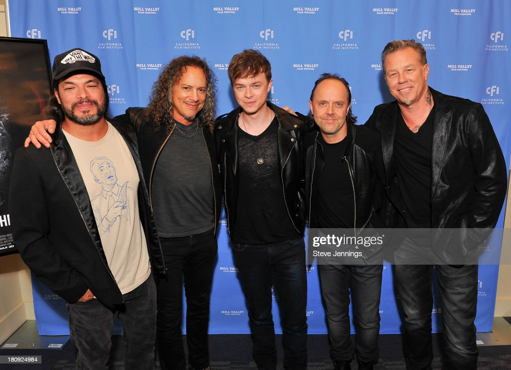 Robert Trujillo, Kirk Hammett, Dane DeHaan, Lars Ulrich and James Hetfield attend the 'Metallica Though The Never' U.S. Public Premiere and Special Advance 36th Annual Mill Valley Film Festival Kick-Off Event at Christopher B. Smith Rafael Film Center on September 17, 2013 in San Rafael, California.