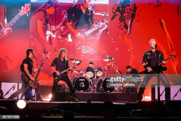 Robert Trujillo Kirk Hammett Lars Ulrich and James Hetfield members of the band Metallica performs live on stage at Autodromo de Interlagos on March...