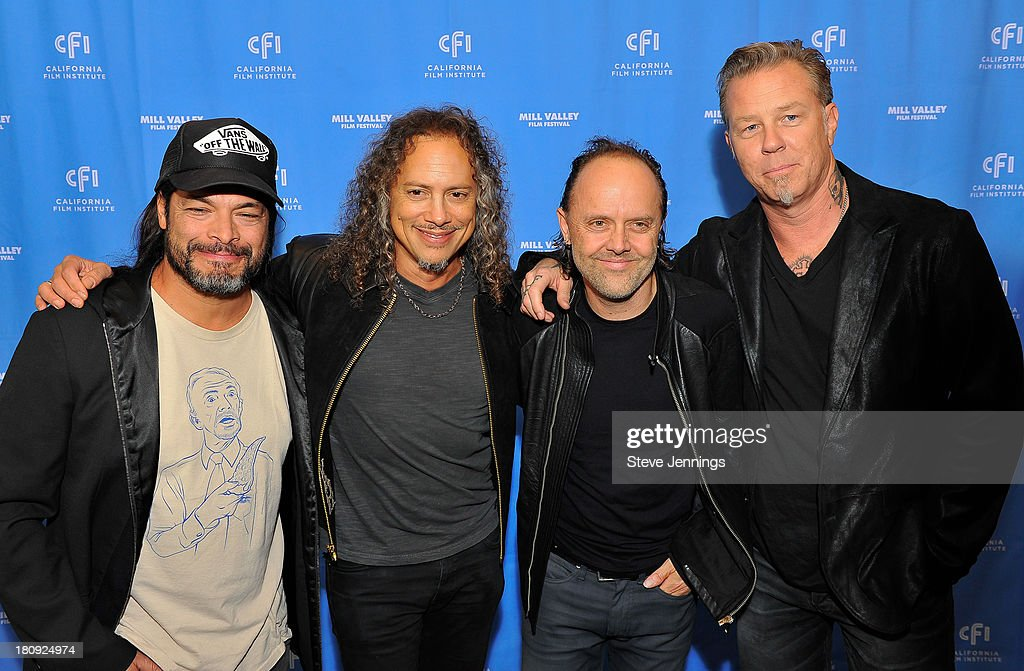 Robert Trujillo, Kirk Hammett, Lars Ulrich and James Hetfield of Metallica attend the 'Metallica Through The Never' U.S. Public Premiere and Special Advance 36th Annual Mill Valley Film Festival Kick-Off Event at Christopher B. Smith Rafael Film Center on September 17, 2013 in San Rafael, California.