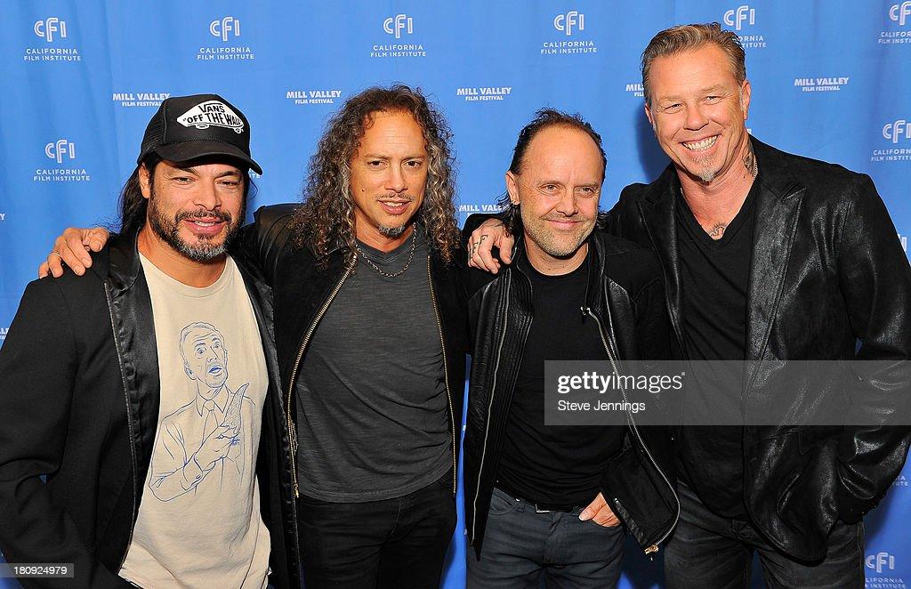 Robert Trujillo Kirk Hammett Lars Ulrich and James Hetfield of Metallica attend the 'Metallica Through The Never' US Public Premiere and Special...