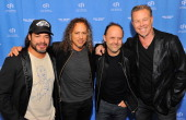 Robert Trujillo Kirk Hammett Lars Ulrich and James Hetfield of Metallica attend the 'Metallica Through The Never' US Public Premiere and Special...