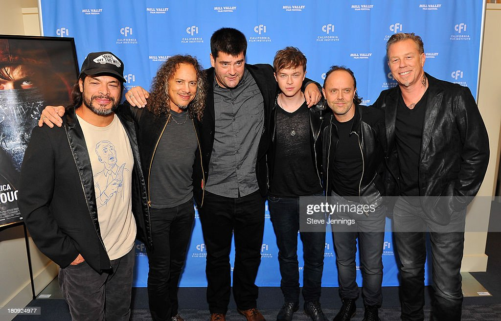 Robert Trujillo, Kirk Hammett, Nimrod Antal, Dane DeHaan, Lars Ulrich and James Hetfield attend the 'Metallica Through The Never' U.S. Public Premiere and Special Advance 36th Annual Mill Valley Film Festival Kick-Off Event at Christopher B. Smith Rafael Film Center on September 17, 2013 in San Rafael, California.