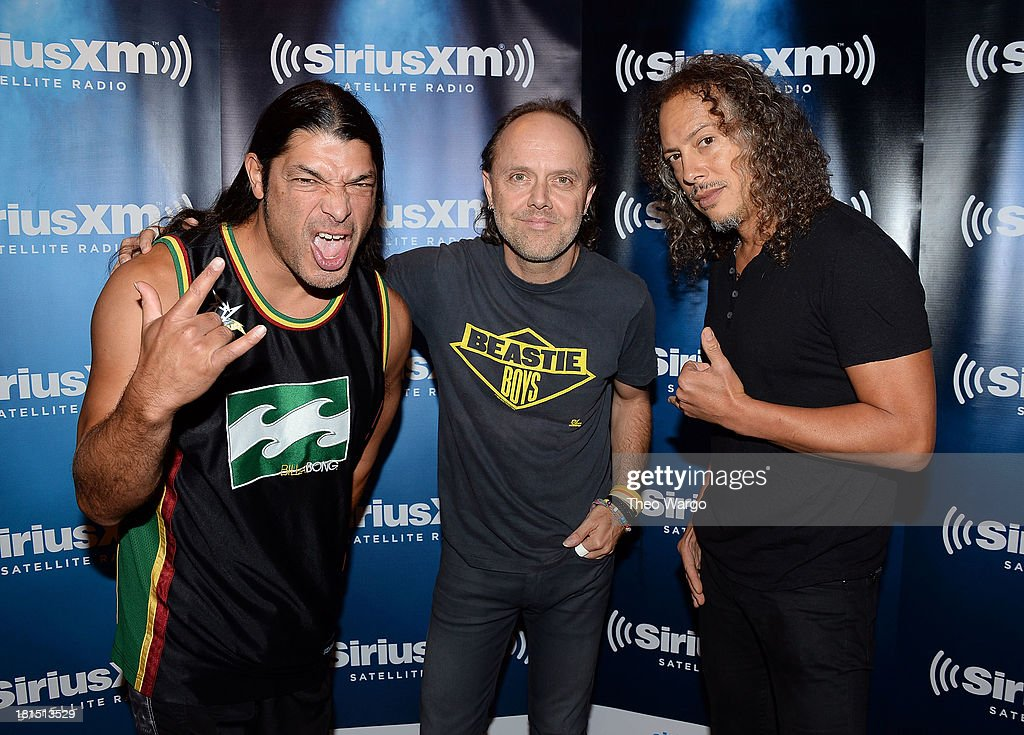 Robert Trujillo, Lars Ulrich and Kirk Hammett of Metallica attend private, exclusive concert for SiriusXM listeners at The Apollo Theater on September 21, 2013 in New York City.