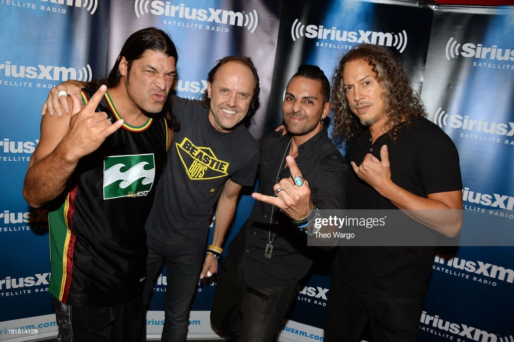 Robert Trujillo, Lars Ulrich, Jose Mangin and Kirk Hammett attend Metallica's private, exclusive concert for SiriusXM listeners at The Apollo Theater on September 21, 2013 in New York City.