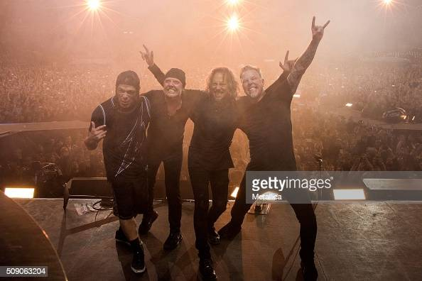 Robert Trujillo Lars Ulrich Kirk Hammett and James Hetfield of Metallica performing The Night Before at ATT Park on February 6 2016 in San Francisco...