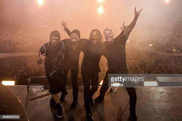 Robert Trujillo Lars Ulrich Kirk Hammett and James Hetfield of Metallica performing The Night Before at ATT Park on February 6 2016 in San Francisco...