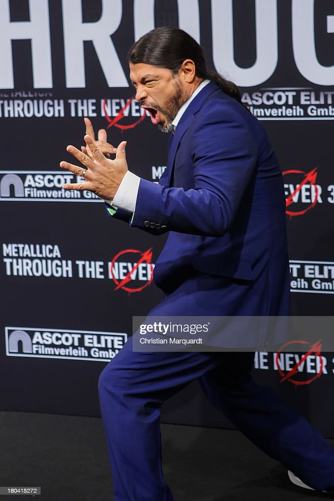 <a gi-track='captionPersonalityLinkClicked' href=/galleries/search?phrase=Robert+Trujillo&family=editorial&specificpeople=213071 ng-click='$event.stopPropagation()'>Robert Trujillo</a> of Metallica attends the German premiere of 'Metallica - Through The Never' on September 12, 2013 in Berlin, Germany.