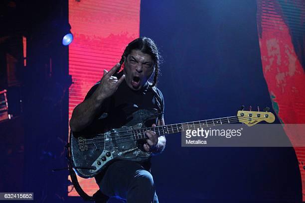 Robert Trujillo of Metallica performs at Singapore Indoor Stadium on January 22 2017 in Singapore Singapore