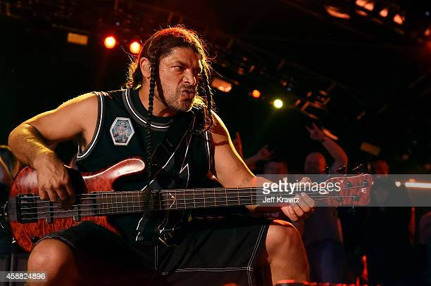 Robert Trujillo of Metallica performs onstage during 'The Concert For Valor' at The National Mall on November 11 2014 in Washington DC