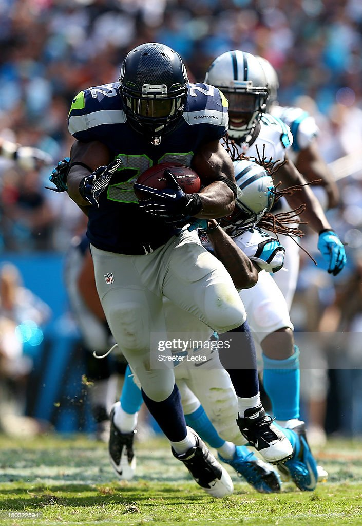 <a gi-track='captionPersonalityLinkClicked' href=/galleries/search?phrase=Robert+Turbin&family=editorial&specificpeople=5597853 ng-click='$event.stopPropagation()'>Robert Turbin</a> #22 of the Seattle Seahawks during their game at Bank of America Stadium on September 8, 2013 in Charlotte, North Carolina.