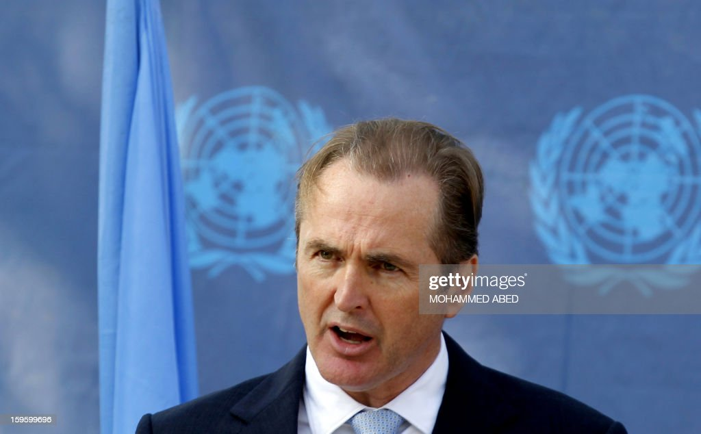 Robert Turner, director of UNRWA (United Nations Relief and Works Agency for Palestine Refugees) operations in the Gaza Strip speaks during a press conference on January 17, 2013 in Gaza City. AFP PHOTO/MOHAMMED ABED