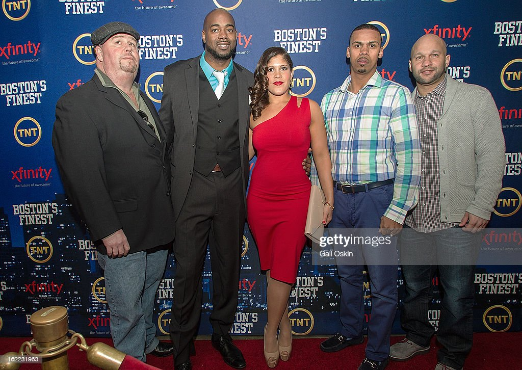 Robert 'Twitch' Twitchell, Myles Lawton, Jenn Penton, Diamantino Araujo and Manny Canuto attend TNT's 'Boston's Finest' premiere screening at The Revere Hotel on February 20, 2013 in Boston, Massachusetts.