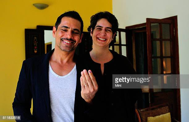 Robert Vadra with his wife Priyanka Gandhi showing vote marks on his finger after casting votes for general election of the 16th Lok Sabha 2014 on...