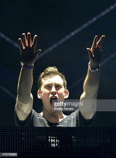 Robert van de Corput also known as Hardwell performs live for fans as part of the 2014 Future Music Festival at RNA Showgrounds on March 1 2014 in...