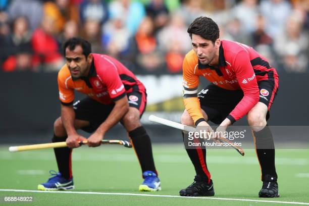 Robert Van Der Horst and Rashid Mehmood of HC OranjeRood look on during the Euro Hockey League KO16 match between HC OranjeRood and AH BC Amsterdam...