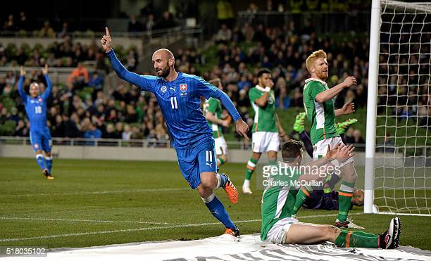 Robert Vittek of Slovakia celebrates after scoring during the international friendly match between the Republic of Ireland and Slovakia at Aviva...