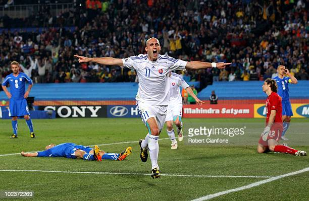 Robert Vittek of Slovakia celebrates scoring the second goal during the 2010 FIFA World Cup South Africa Group F match between Slovakia and Italy at...