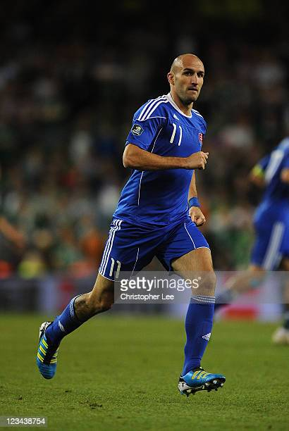 Robert Vittek of Slovakia during the UEFA EURO 2012 group B Qualifier match between Republic of Ireland and Slovakia at the AVIVA Stadium on...