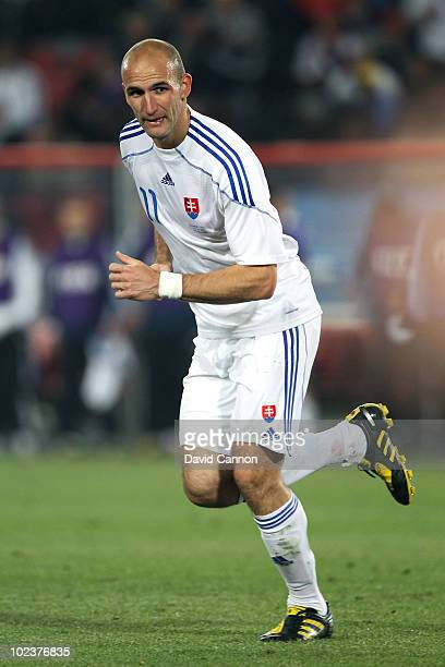 Robert Vittek of Slovakia in action during the 2010 FIFA World Cup South Africa Group F match between Slovakia and Italy at Ellis Park Stadium on...