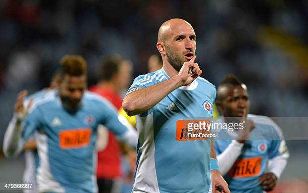 Robert Vittek of Slovan Bratislava celebrates during the Corgon liga league football match between Slovan Bratislava and Spartak Trnava at the...