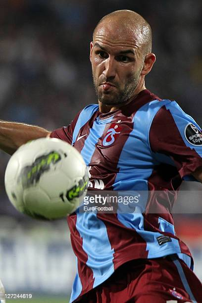 Robert Vittek of Trabzonspor AS in action during the Super League match against Istanbul BB SK at the Avni Aker Stadium on September 17 2011 in...
