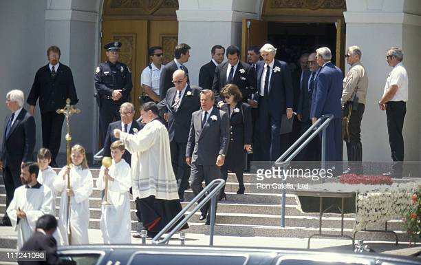 Robert Wagner and Gregory Peck during Funeral of Frank Sinatra at Little Shepherd Catholic Church in Beverly Hills California United States