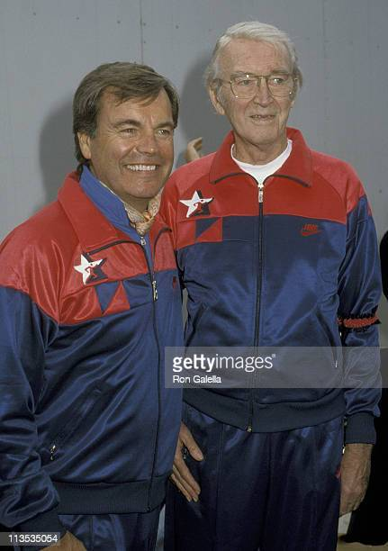 Robert Wagner and James Stewart during 5th Annual Jimmy Stewart Relay Marathon at Griffith Park in Los Angeles California United States