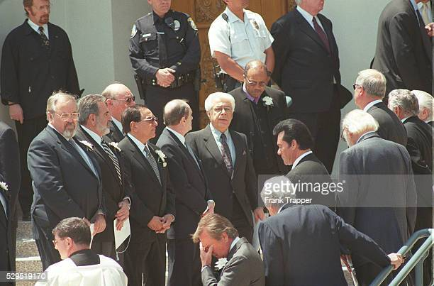 Robert Wagner Gregory Peck Wayne Newton George Schlatter leaving the church