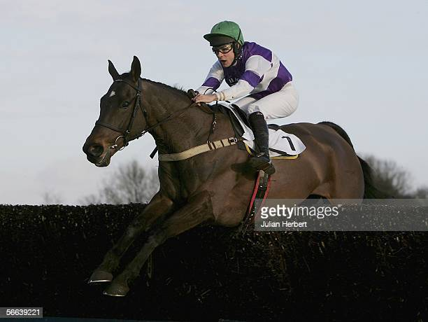 Robert Walford and Kingscliff clear the final fence during The Peter Marsh Steeple Chase Race run at Haydock Park Racecourse on January 21 2006 in...
