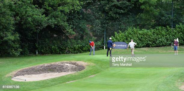 Robert Watson of The Shire London putts on the 18th green during the PGA Lombard Trophy East Qualifier at Sandy Lodge Golf Club on July 20 2017 in...